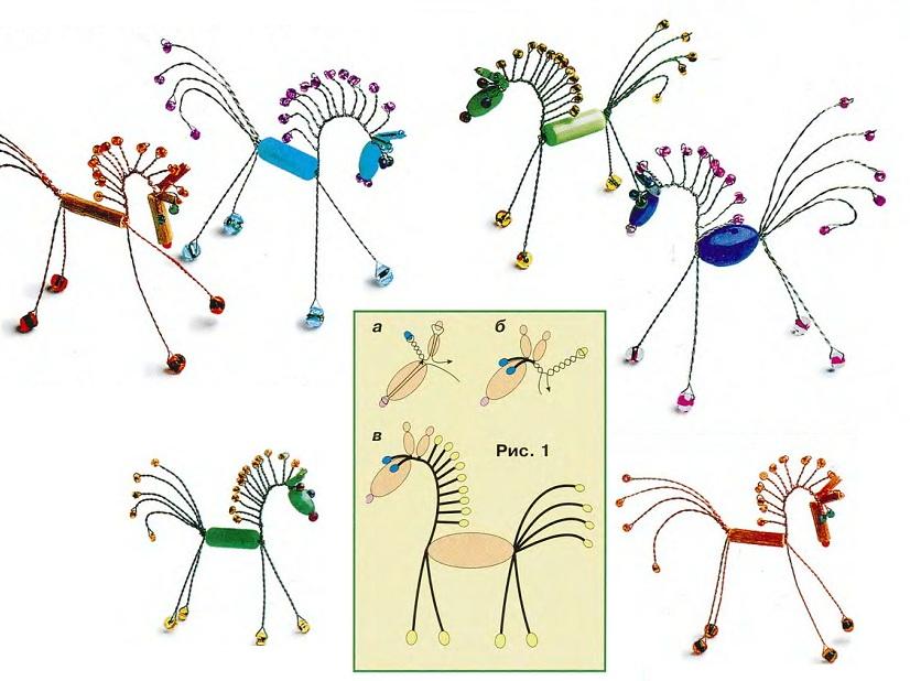 схема лошадки из бусин, бисера