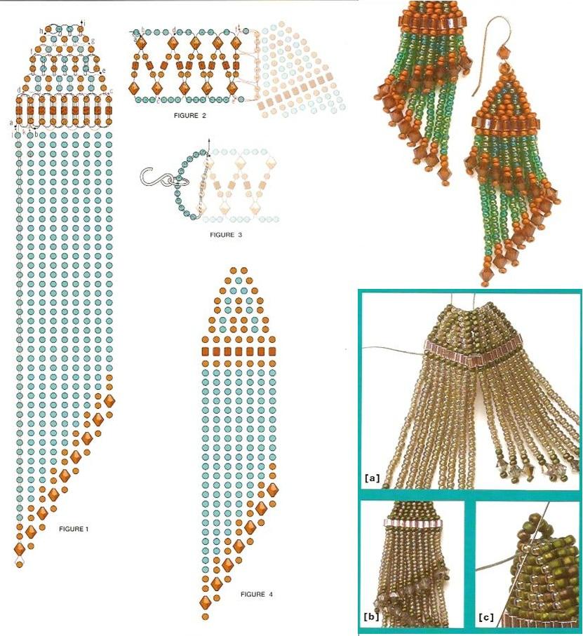 схема плетения украшений из бисера. колье с подвеской. схема плетения.