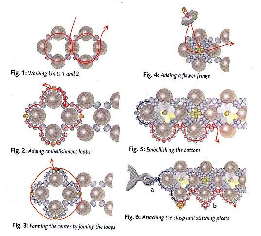 схема бус из бусин и цветочков