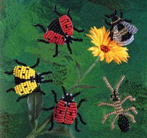 Объемные жуки и божьи коровки.  Схемы их плетения.
