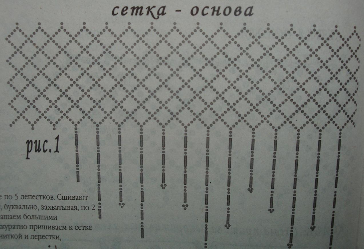 Сетка основа.  Схема сетки из бисера для колье.