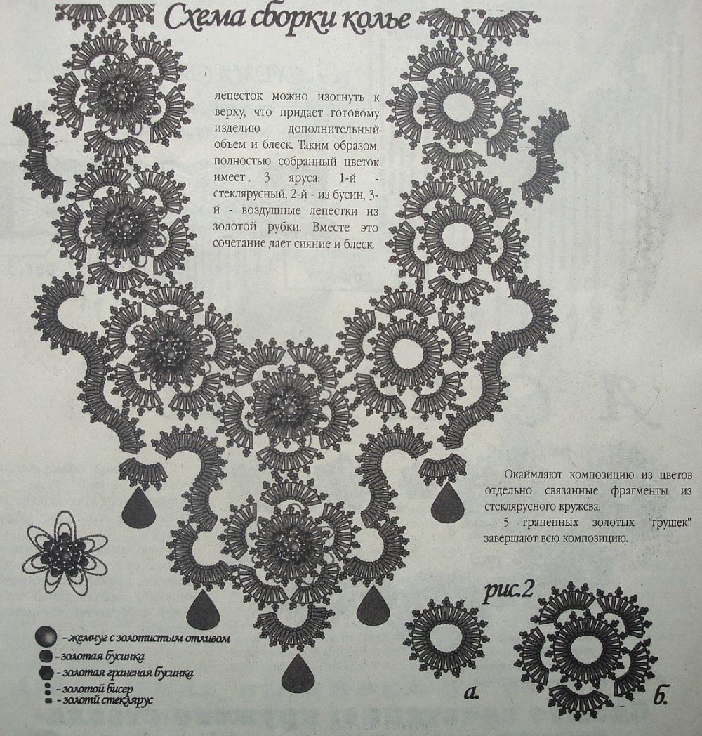Схема колье из бисера.