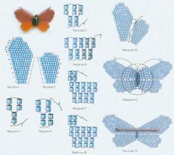 брошь-бабочка сплетенная из рубки