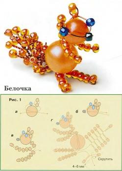 схема изготовления белки из бусин и бисера