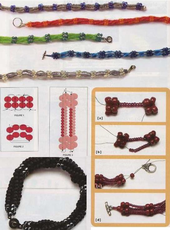 Украшения из бисера.  Схемы подходят как для плетения браслетов, так и для бус или колье.
