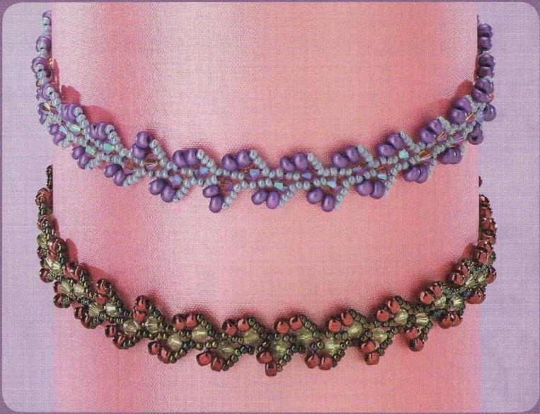 легкие широкие браслеты из бисера схемы плетения.