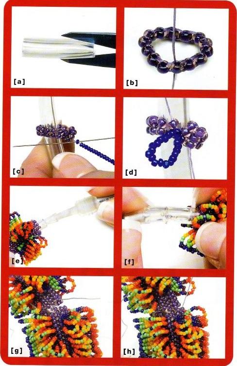 Схема плетения пушистого браслета