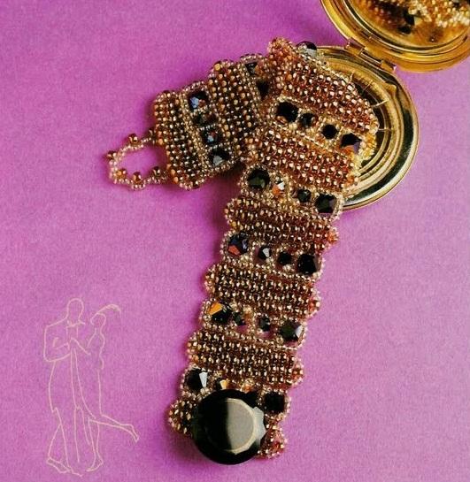 браслет из бисера с пуговицей. самодельный браслет с пуговицей.