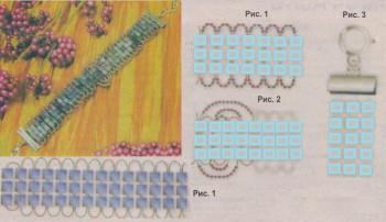 схема браслета из голубых бисерин