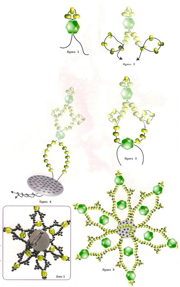 схема плетения брошки-звезды. плетение брошки из бисера и кристаллов.