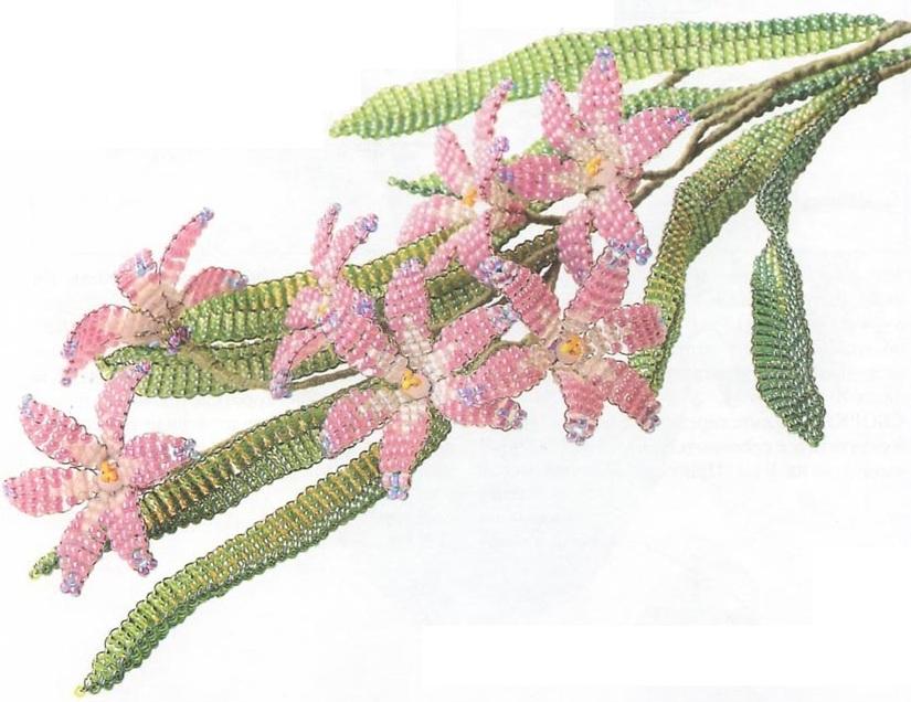 розовый цветок из бисера