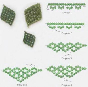 Бисероплетение - Зеленые листики из бисера.  Категория.  15.12.2011. Теория плетения.