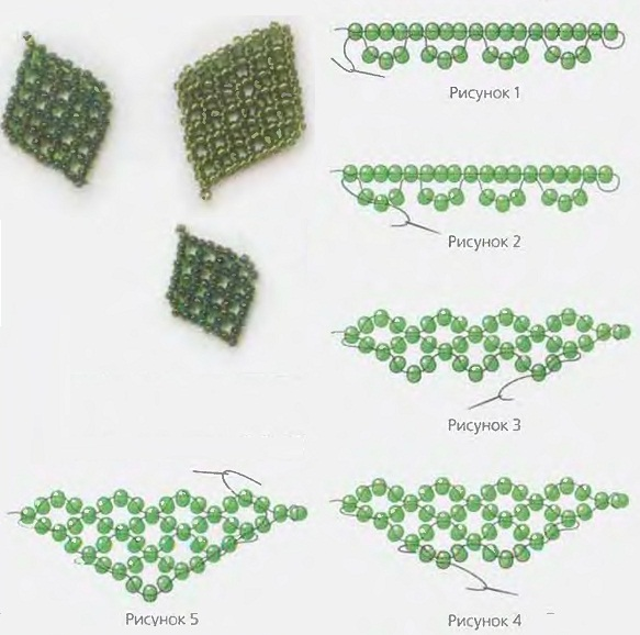 Бисероплетение - Зеленые листики из бисера.  Категория.