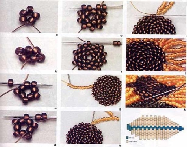 плетение подсолнухов из бисера