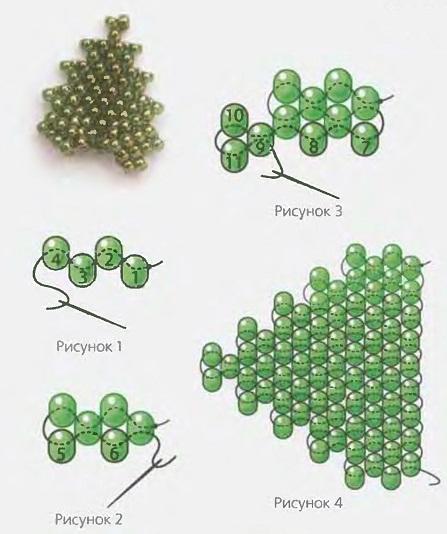 Различные техники плетения зеленых листиков.  Первый вариант выполнен в ажурной технике плетения из бисера...