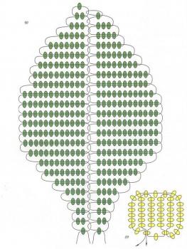 схема георгина из бисера