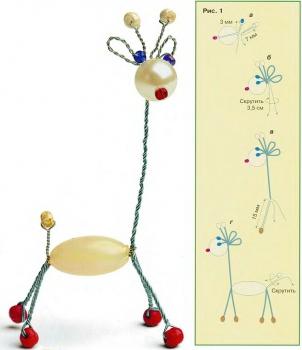 схема плетения жирафа из бусин и проволоки