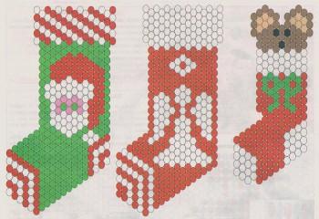 схема носков из бисера для рождества