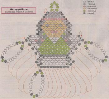 схема брелка индианка из бисера