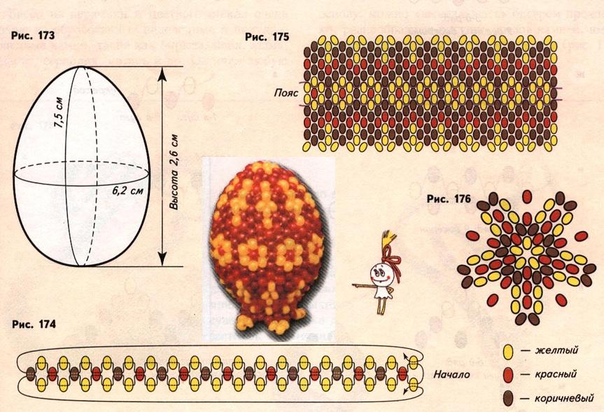Яйца из бисера: схемы плетения.