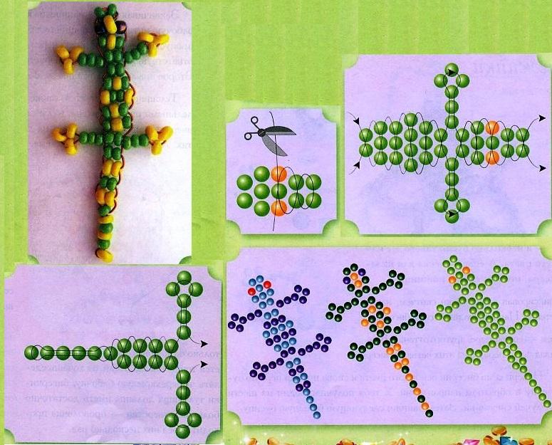 схема плетения ящерицы из бисера