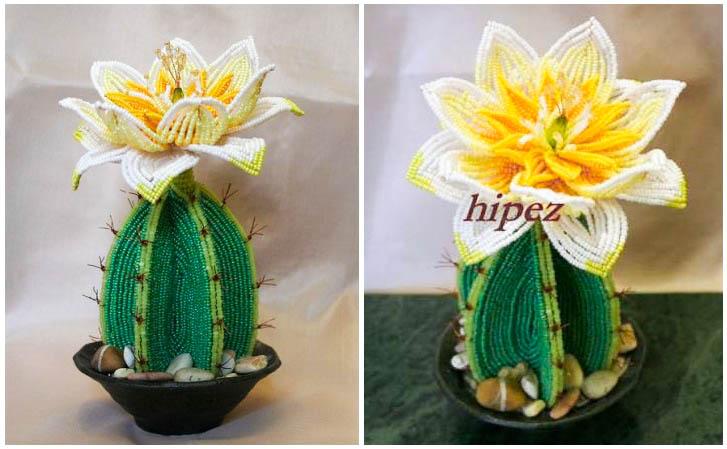 бисера. плетение кактуса