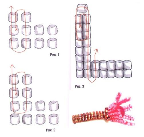 схема плетения кольца-цветка из бисера. схема кольца-цветка из бисера.