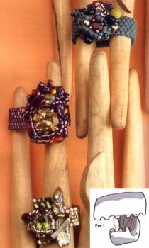 кольцо из бисера и разных бусин
