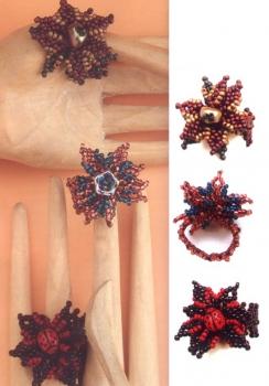 кольца с цветами из бисера