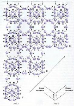 схема колье уголком из бисера