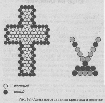 крестик сплетенный из бисера