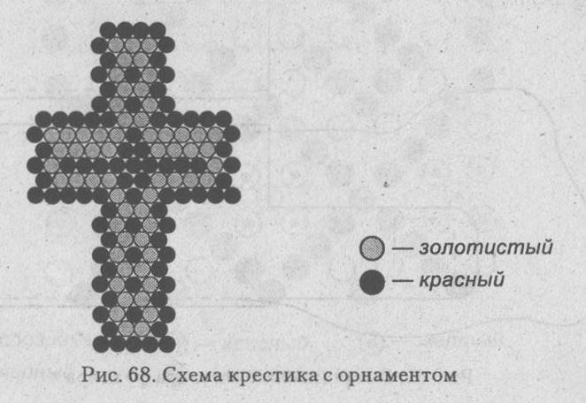 схема разноцветного крестика из бисера. схема плетения крестика из бисера.