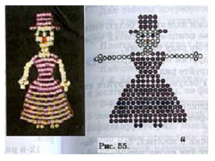 схема плетения куклы из бисера