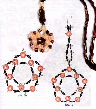 схема плетения кулона звездочки из бусин