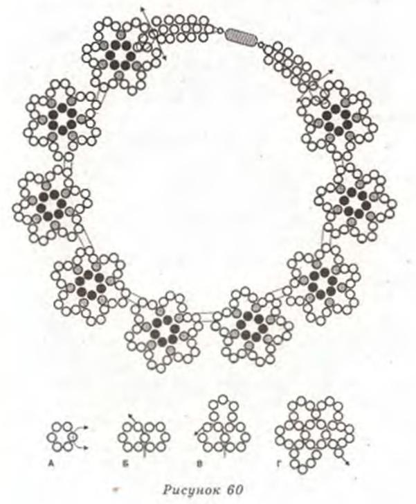 цветочное колье из бисера