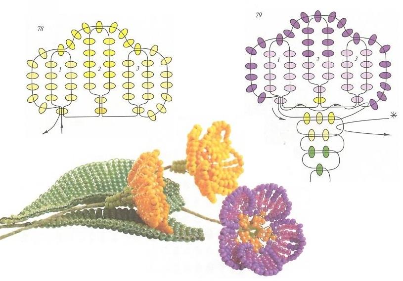 Цветок для начинающих из бисера Мужские Схемы 8