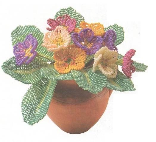 цветы примулы из бисера