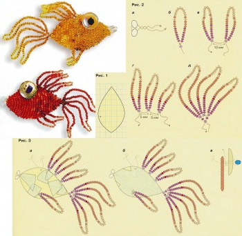 схема плетения рыбок из бисера