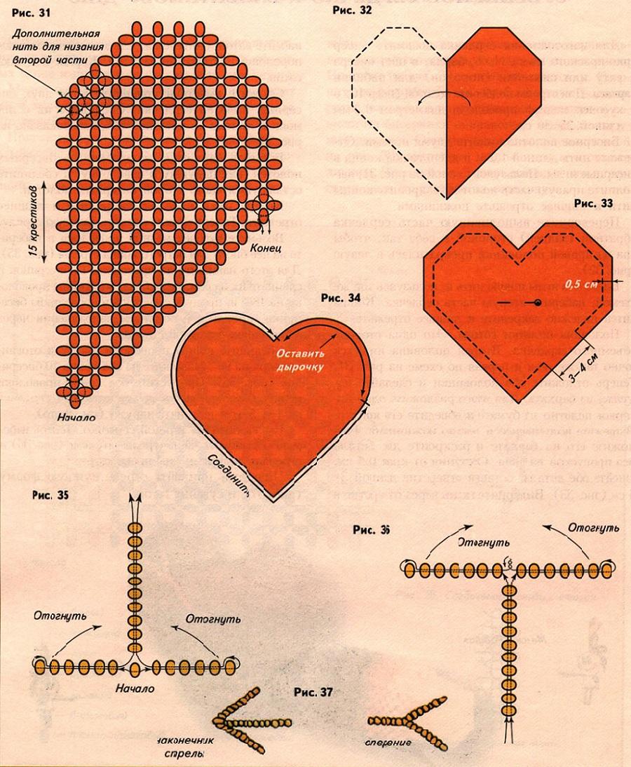 Для изготовления сердечка возьмите бисер ярко-красного цвета 11 /о, бархат в цвет бисера и вату или синтепон (поролон)...