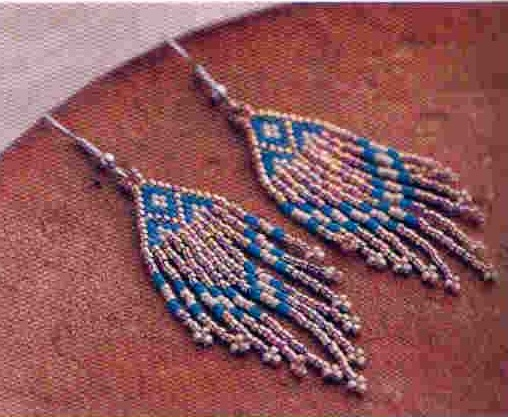 "Серьги  ""завитушки  "" из бисера.  Схема плетения серег.  Бисер."