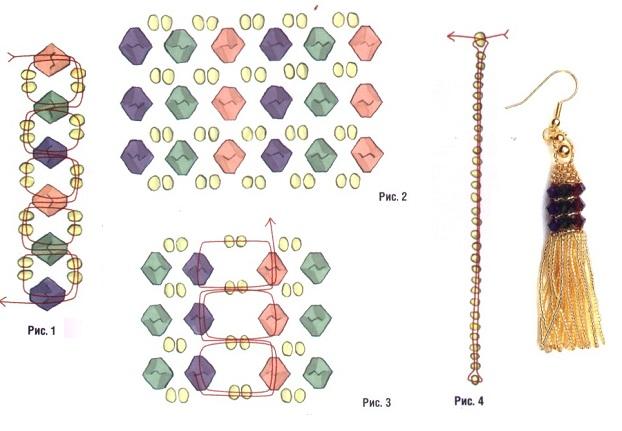 схемы плетения серег из бисера - Мир Бисера.