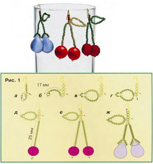 схема плетения вишен из бисера и бусин. сережки вишенки из бусин.