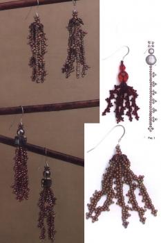 плетем серьги-кисти из бисера