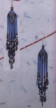 красивые серьги из синего бисера