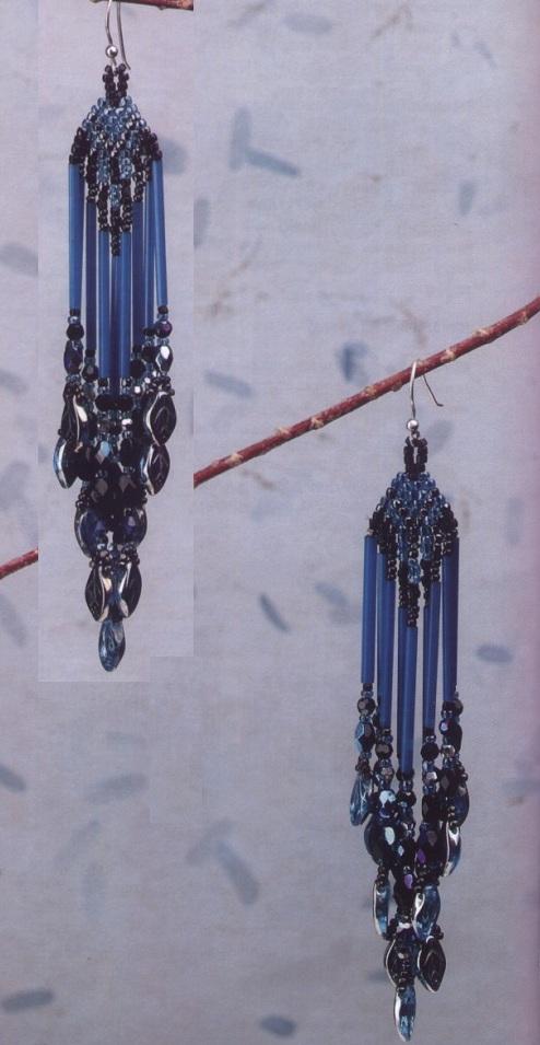"""Схема плетения голубых сережек из бисера и бусин  """"кошачий глаз """".  И второй вариант серег из золотой рубки..."""