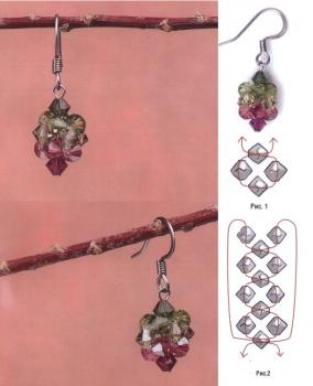 плетем серьги из кристаллов