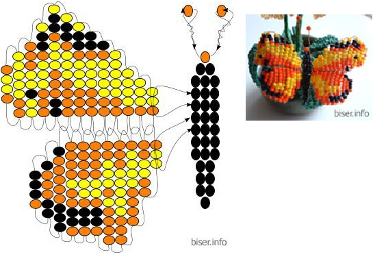 схема бабочки, брошки из бисера.