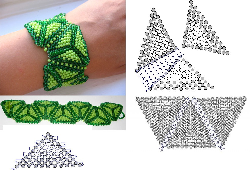 Треугольный браслет.  Схема плетения браслета из бисера.