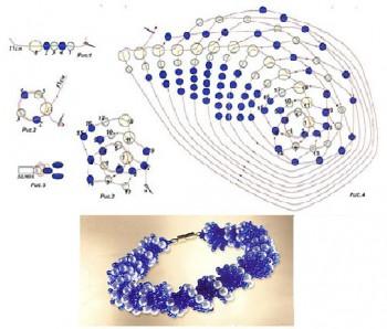 синий браслет-жгут из бисера