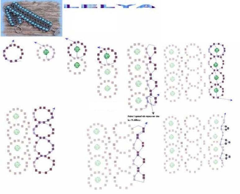 схема широкого браслета из бисера - Схемы.